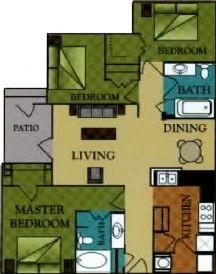 1,125 sq. ft. Madison/60 floor plan