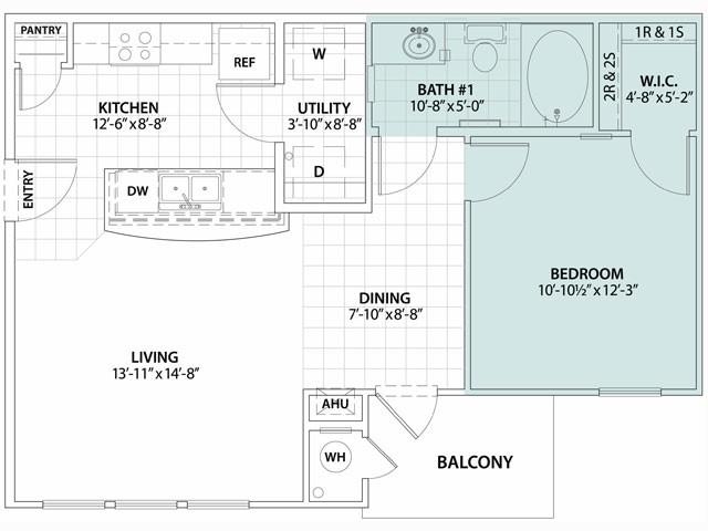 674 sq. ft. Pino 60% floor plan