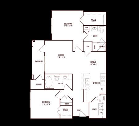 1,057 sq. ft. Live Oak floor plan