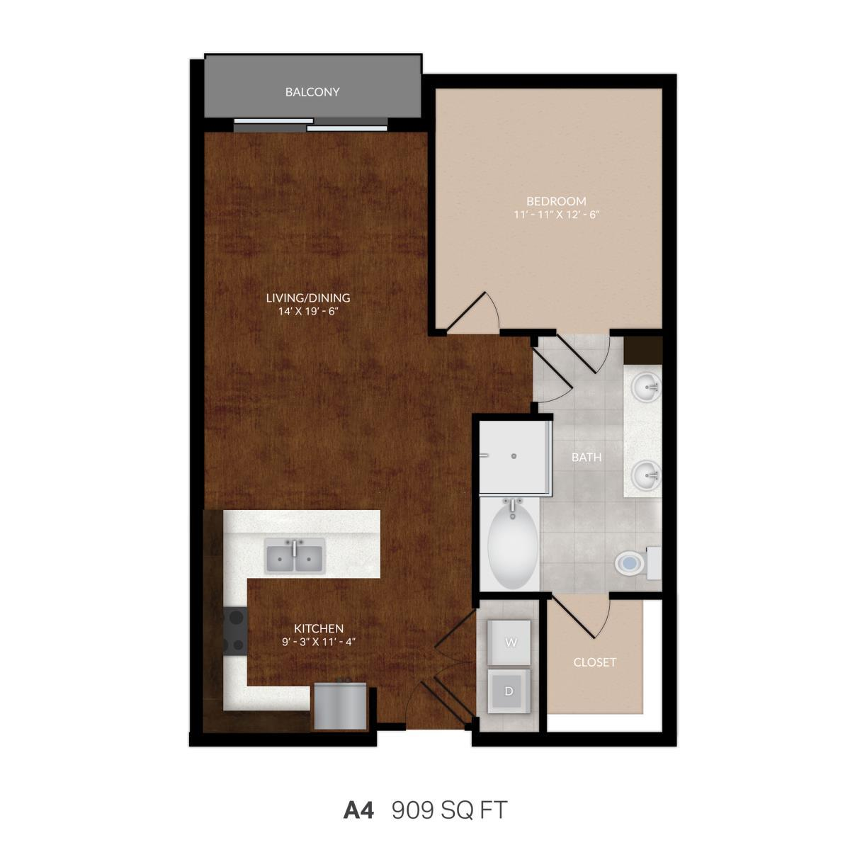 843 sq. ft. A4 floor plan