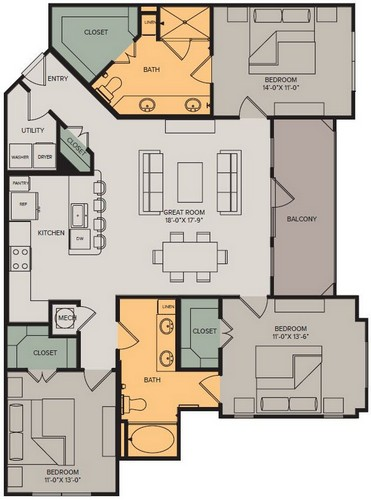 1,435 sq. ft. Panorama I floor plan