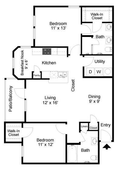 1,164 sq. ft. B3 floor plan