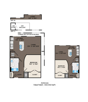 642 sq. ft. to 692 sq. ft. Ambrosia floor plan