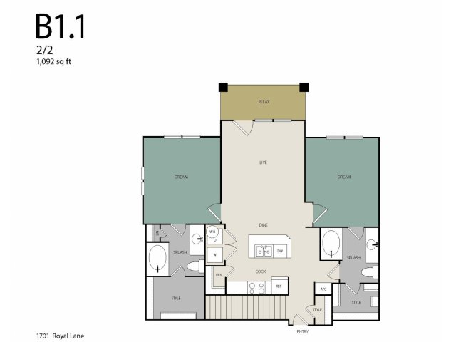 1,092 sq. ft. B1G floor plan