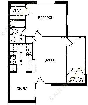 566 sq. ft. Ashton floor plan