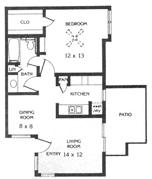 645 sq. ft. A2 floor plan