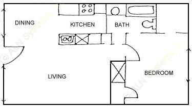 649 sq. ft. SMALLEST 1BDRM floor plan