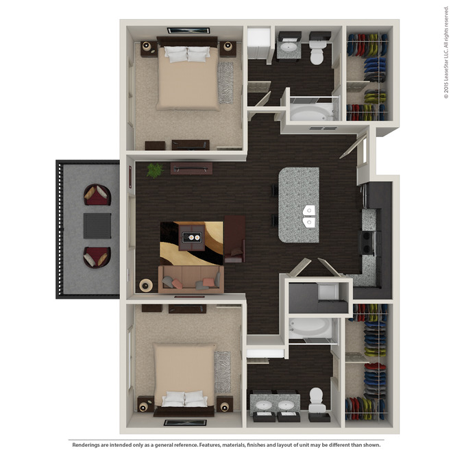 1,003 sq. ft. B1.2 floor plan