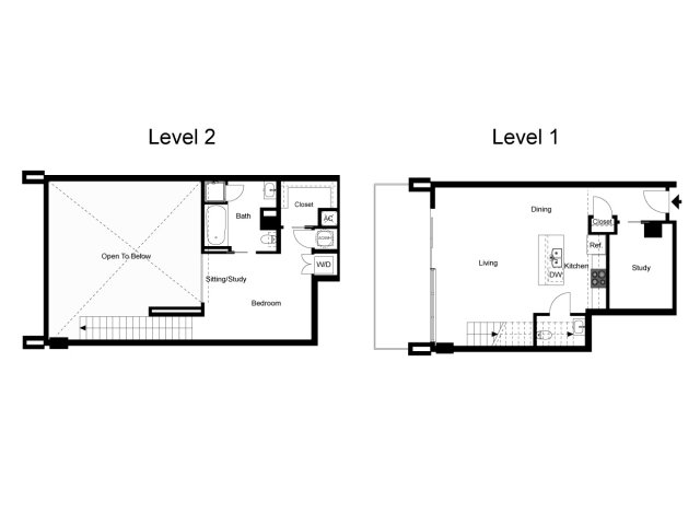 1,107 sq. ft. Loft 1F floor plan