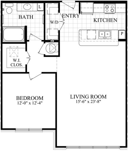 891 sq. ft. B2 floor plan