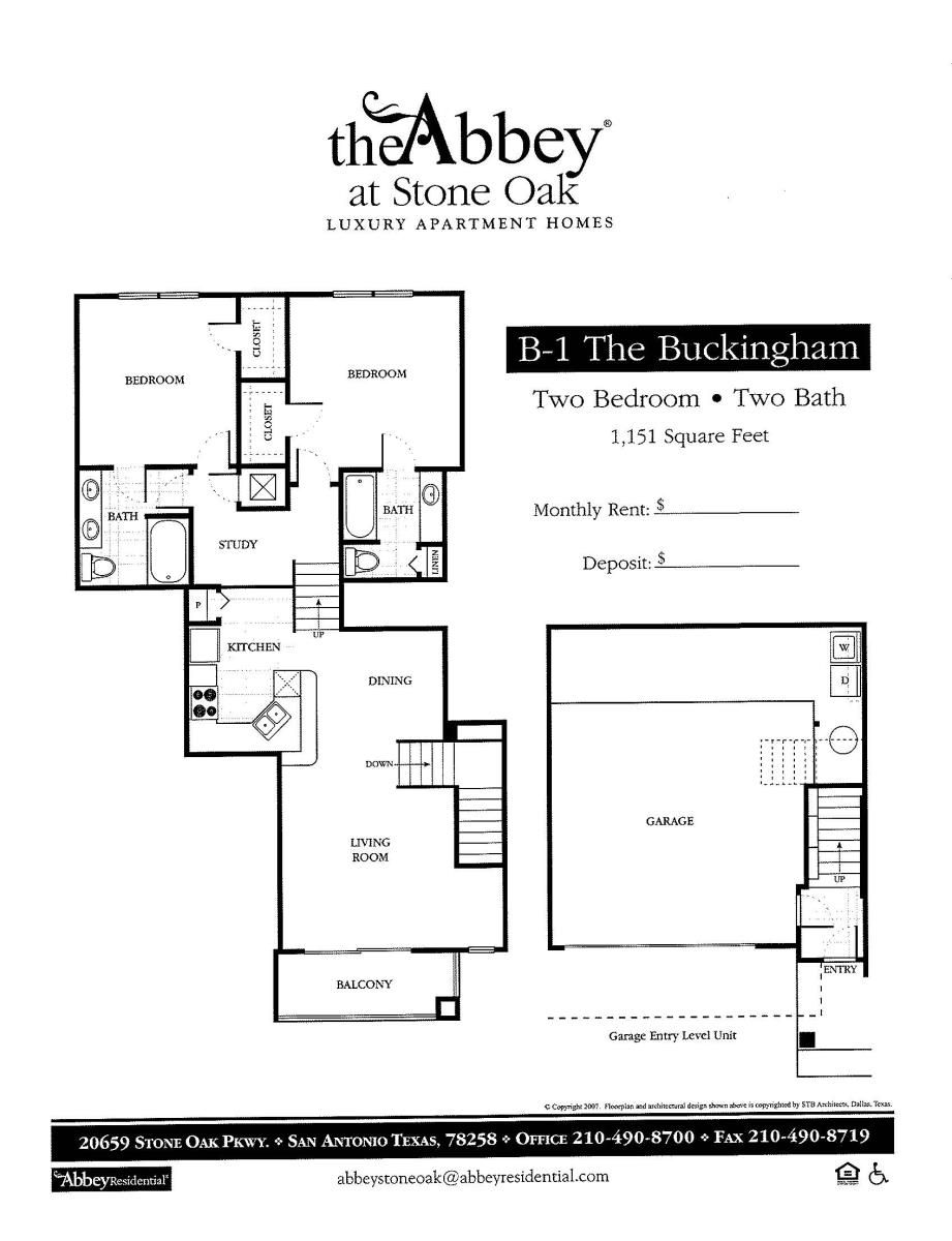 1,151 sq. ft. Buckingham floor plan