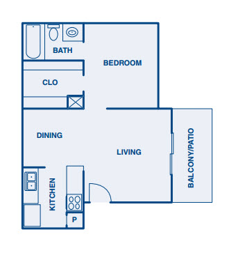 544 sq. ft. A floor plan