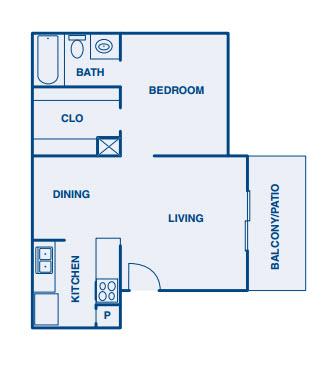 544 sq. ft. A floor plan