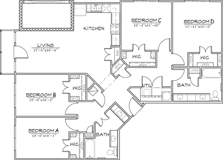 1,536 sq. ft. floor plan