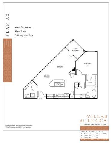 788 sq. ft. A2 floor plan