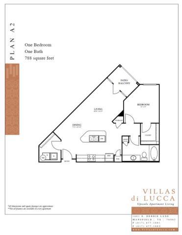 788 sq. ft. A2 floor plan