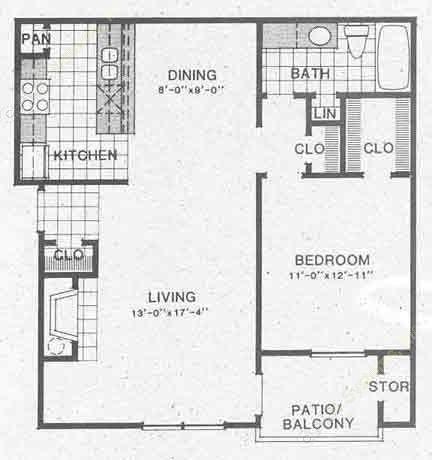 779 sq. ft. A2/A2A floor plan