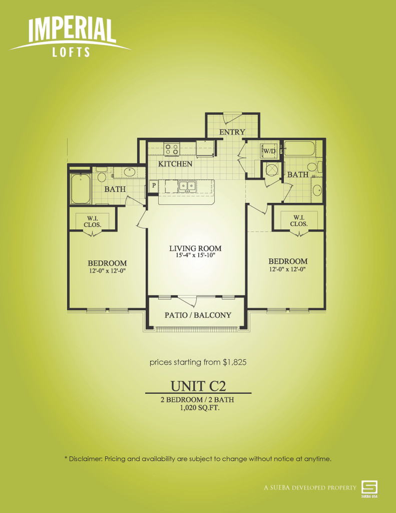 1,020 sq. ft. C2 floor plan