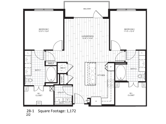 1,172 sq. ft. B2-1 floor plan