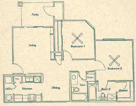 909 sq. ft. B1 floor plan