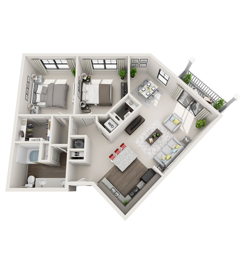 1,097 sq. ft. B3 floor plan