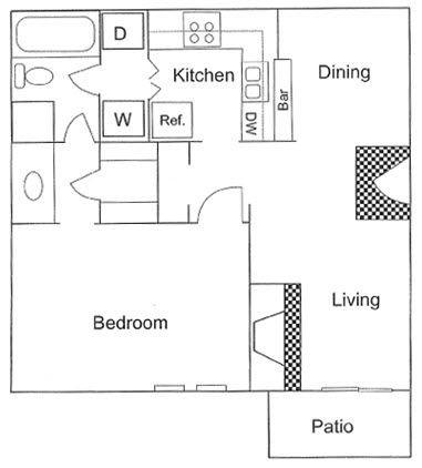 677 sq. ft. A3 floor plan