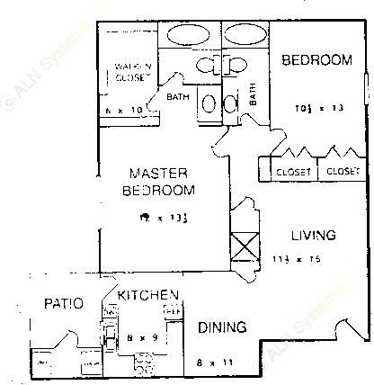 1,110 sq. ft. A1 floor plan