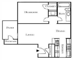650 sq. ft. Benjamin floor plan
