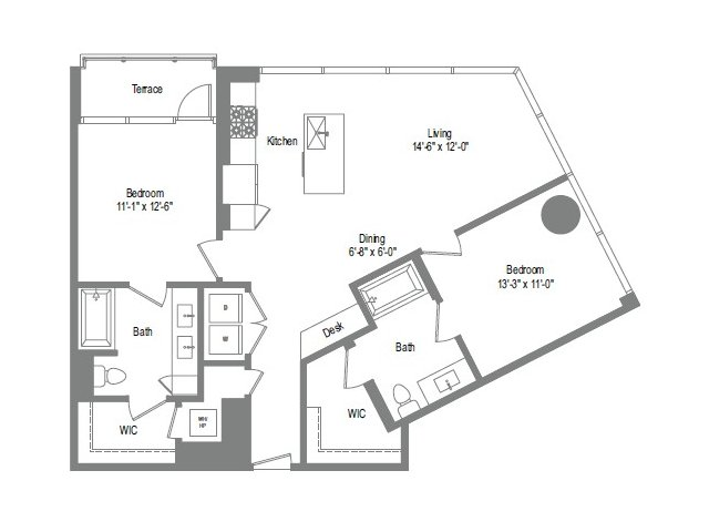 1,148 sq. ft. B3 floor plan