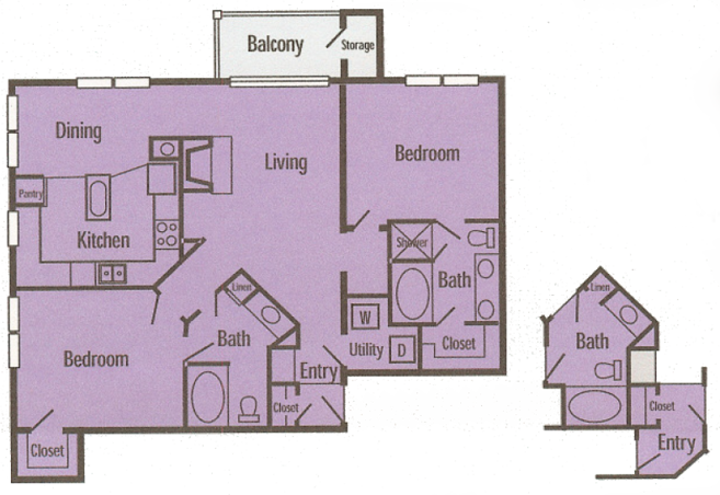 1,191 sq. ft. B5 floor plan