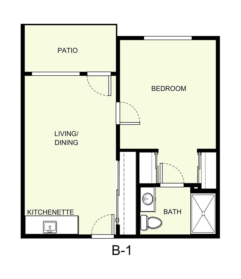 549 sq. ft. B1 floor plan