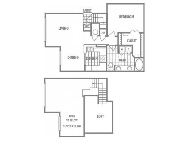 984 sq. ft. D1 floor plan