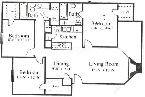1,138 sq. ft. C floor plan