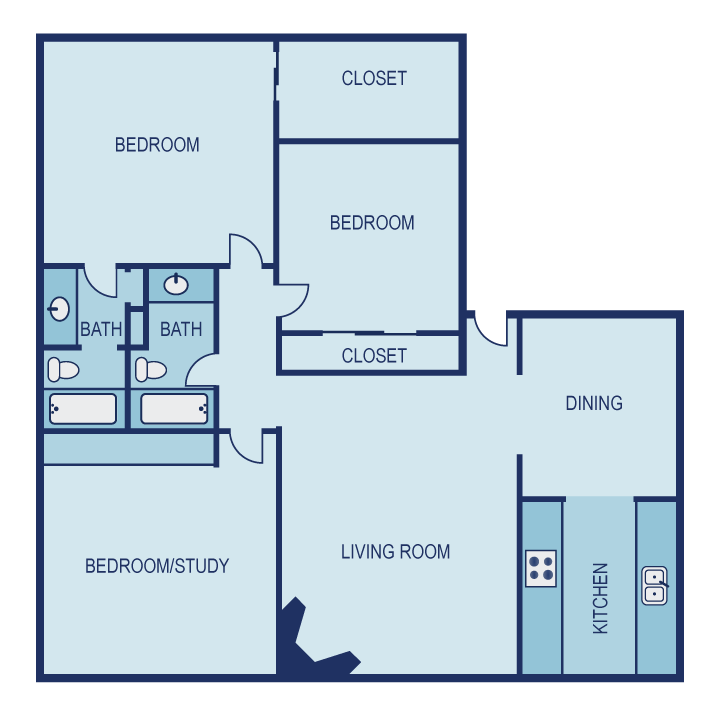 1,328 sq. ft. E2 floor plan