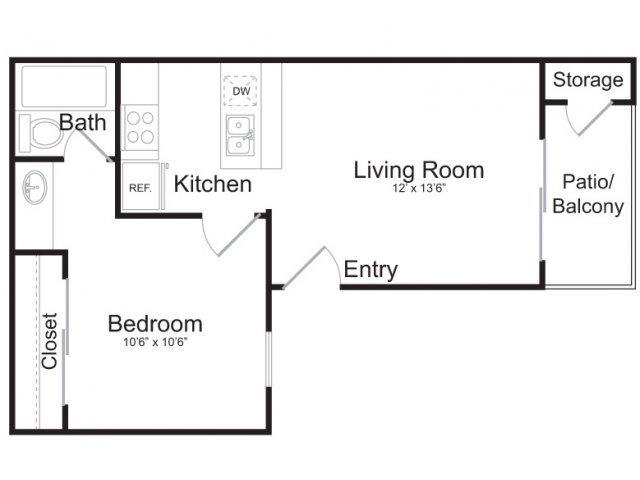 485 sq. ft. A2 floor plan
