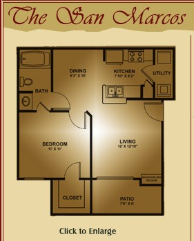 650 sq. ft. San Marcos floor plan