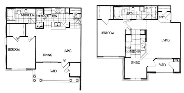 742 sq. ft. to 777 sq. ft. 60% floor plan