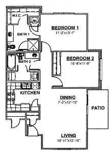 959 sq. ft. Ph I 60% floor plan