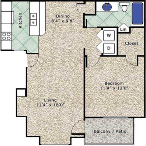 674 sq. ft. A floor plan