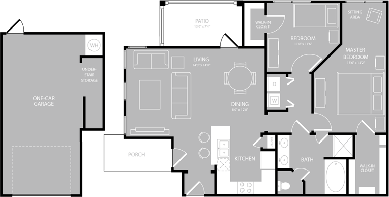 1,088 sq. ft. Legato floor plan