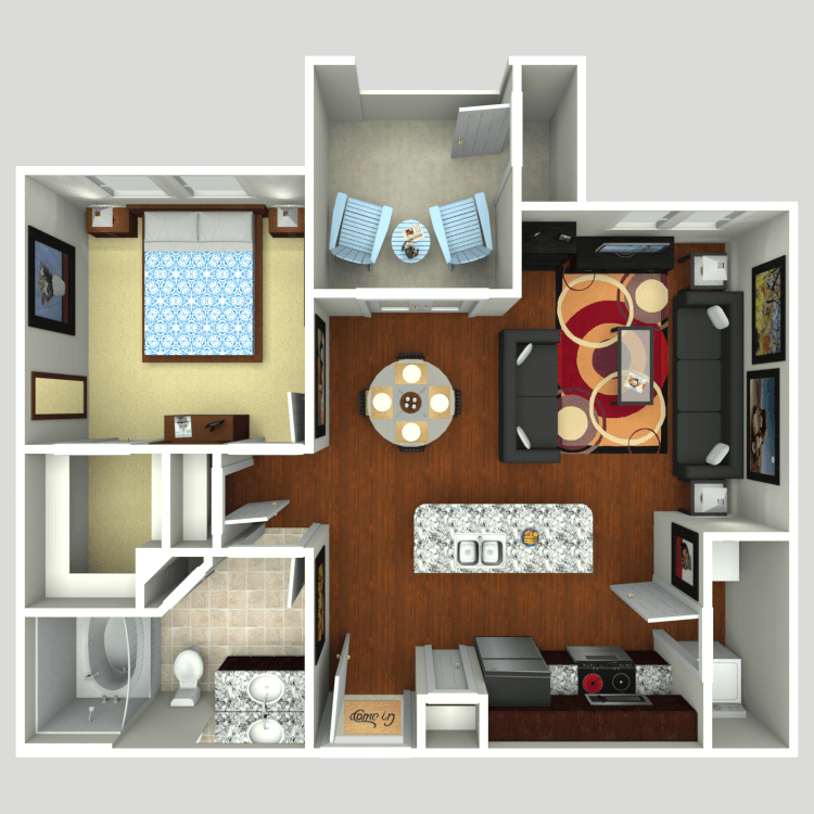 725 sq. ft. A2 floor plan