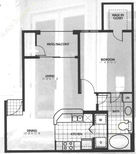 671 sq. ft. A2 floor plan