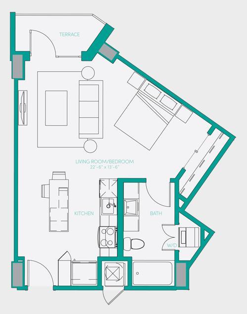 564 sq. ft. S1.1 floor plan
