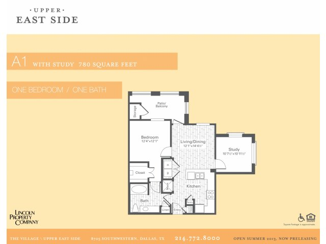 780 sq. ft. A1 w/Study floor plan