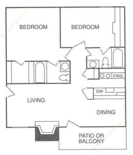 785 sq. ft. B-2 floor plan
