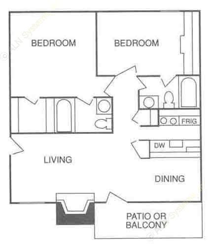 785 sq. ft. B-2 floor plan
