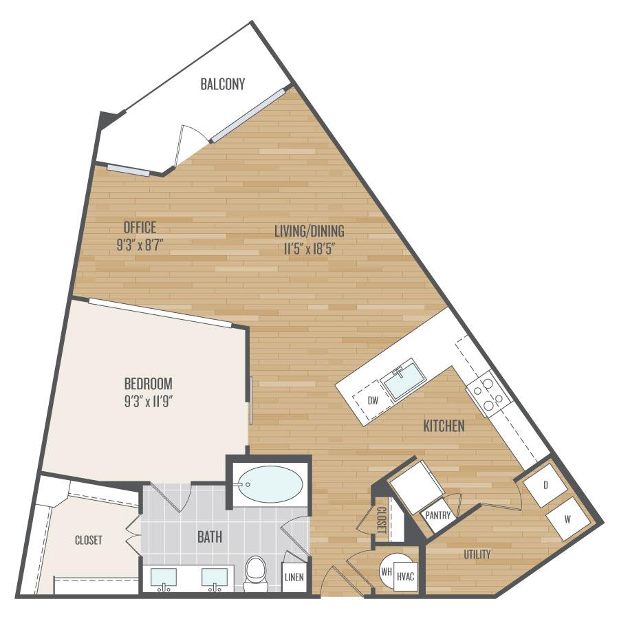 947 sq. ft. A11 floor plan