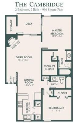 996 sq. ft. Bradford floor plan