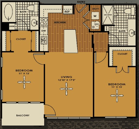 1,045 sq. ft. B1 floor plan