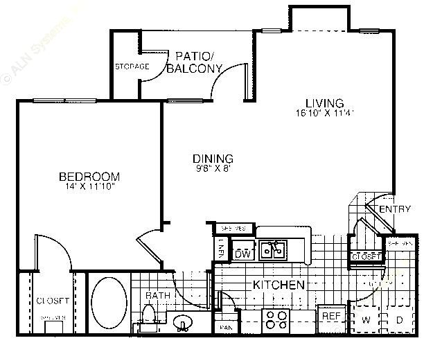 786 sq. ft. A1D floor plan